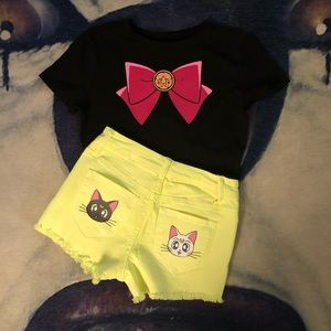 Sailor moon Luna and Artemis crop top and shorts